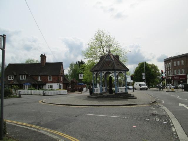 Ickenham village centre with its pump