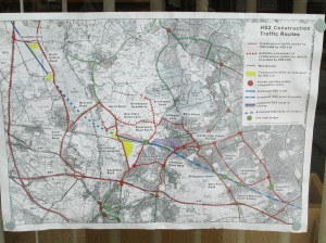 Poster at the library with details of the HS2 construction plans.