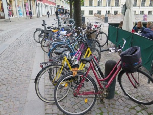 Cycles parked with minimal security.  This is Lund but Malmo was similar