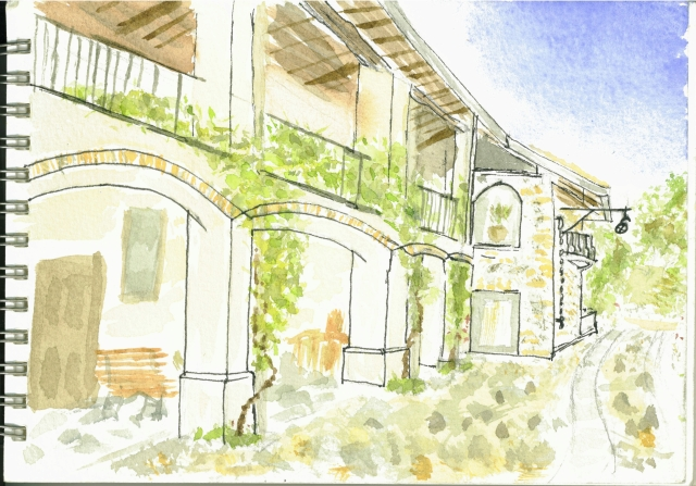 My sketch of Cascina Rodiani, green hospitality, Drezzo near Como - click for website